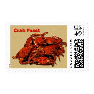 Pila de banquete cocido al vapor del cangrejo de timbres postales