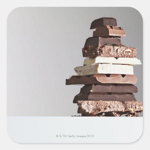Pila de barras de chocolate pegatinas cuadradases personalizadas