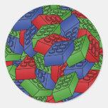 Pila de bloques huecos pegatina redonda
