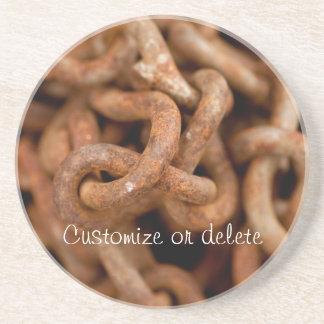 Pila de cadenas oxidadas; Personalizable Posavasos Para Bebidas