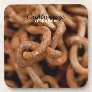 Pila de cadenas oxidadas; Personalizable Posavaso