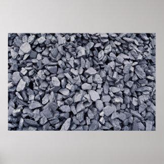 Pila de carbón excavada recientemente de mina de t póster