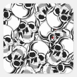 Pila de cráneos Red Eye ID222 Pegatina Cuadrada