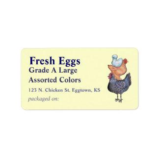 Pila de etiqueta del huevo de los pollos etiquetas de dirección