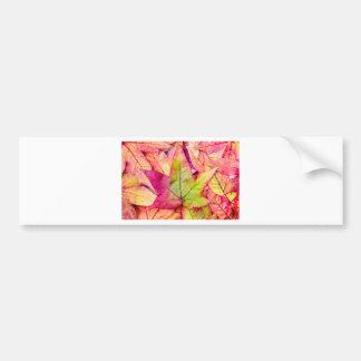 Pila de hojas de arce en colores de la caída pegatina para auto