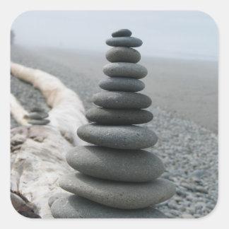 Pila de la roca pegatina cuadrada