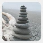 Pila de la roca pegatinas cuadradases