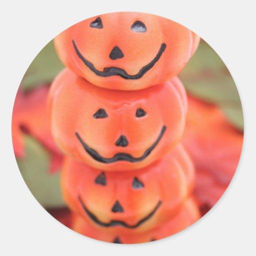 Pila de las calabazas de Halloween Pegatina Redonda
