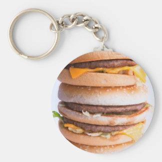Pila de las hamburguesas llavero redondo tipo pin
