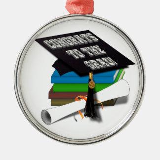 "Pila de libro ""CONGRATS diploma del GRADUADO"" Adorno Navideño Redondo De Metal"