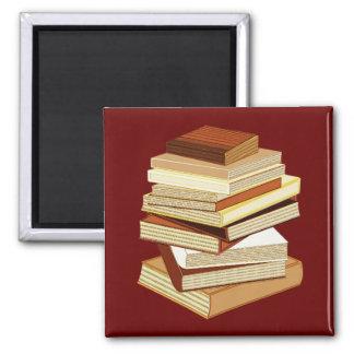 Pila de libros - beige imán de nevera
