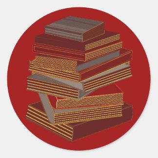Pila de libros - BrownGrey Pegatina Redonda