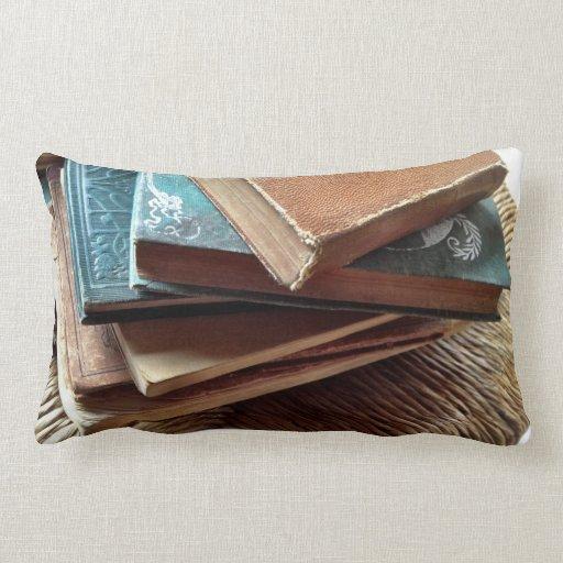 pila de libros en la almohada vieja del lumbar de
