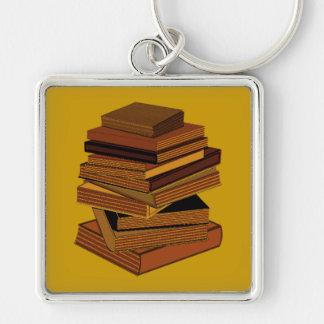 Pila de libros - GreenBrown Llavero Cuadrado Plateado