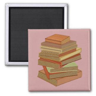 Pila de libros - pastel iman de frigorífico