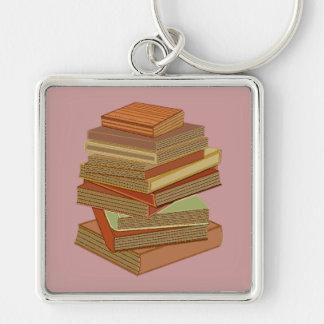 Pila de libros - pastel llavero cuadrado plateado
