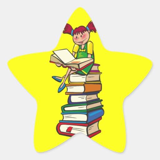 Pila de libros pegatina en forma de estrella