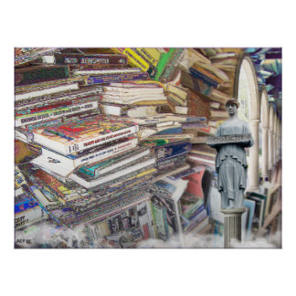 Pila de libros póster