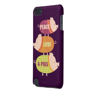 Pila de los cerdos del amor de la paz funda para iPod touch 5G