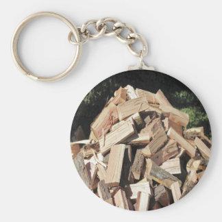 Pila de madera tajada afuera llaveros