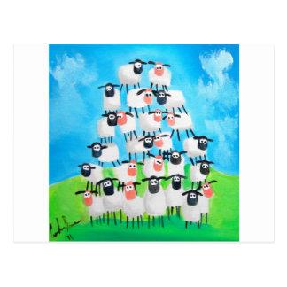 Pila de ovejas tarjetas postales
