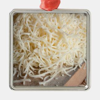 Pila de queso fresco de la mozzarella adorno navideño cuadrado de metal
