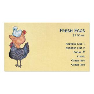 Pila de tarjetas de visita de los pollos