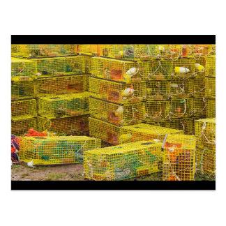 Pila de trampas amarillas de la langosta en Maine Postales