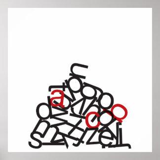 Pila del alfabeto póster