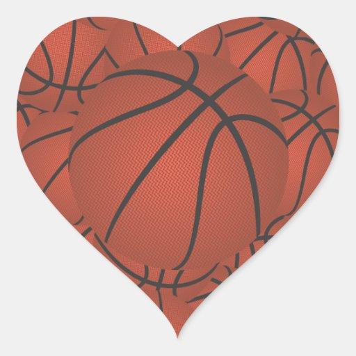 pila del baloncesto pegatina en forma de corazón