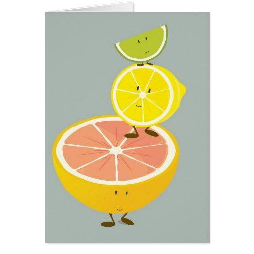 pila del carácter de la fruta cítrica tarjeta de felicitación