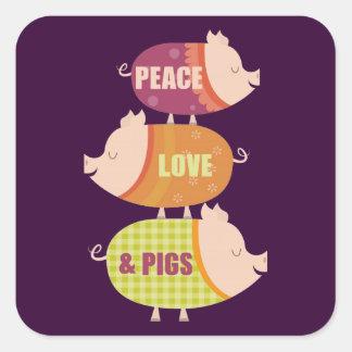 Pila del cerdo del amor de la paz pegatina cuadrada