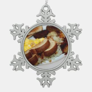 Pila del desayuno adorno de peltre en forma de copo de nieve