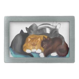 Pila del gatito el dormir hebilla cinturón rectangular