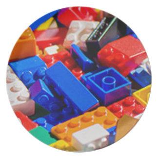Pila del ladrillo del juguete de Coloful Plato De Cena