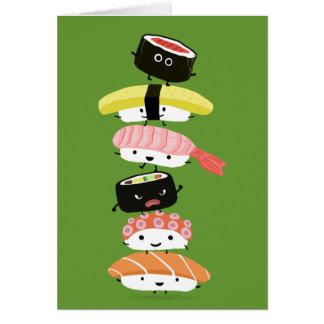 Pila del sushi - torre feliz de los amigos del tarjeta pequeña