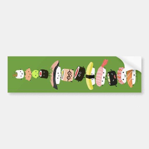 Pila del sushi - una torre feliz de los amigos de  pegatina para auto