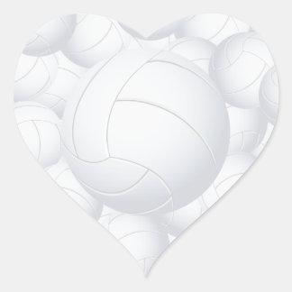 pila del voleibol pegatina en forma de corazón