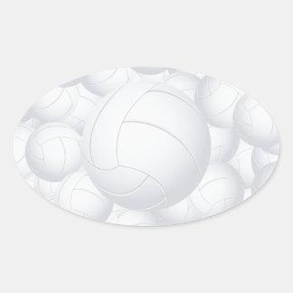 pila del voleibol pegatina ovalada
