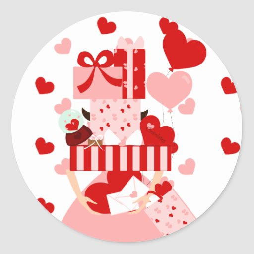 Pila imposible de la tarjeta del día de San Valent Etiqueta Redonda