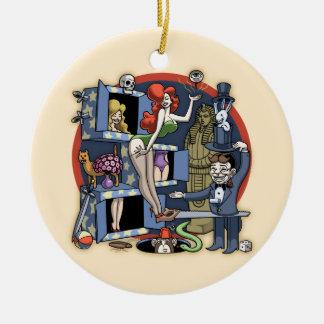 Pila mágica adorno navideño redondo de cerámica