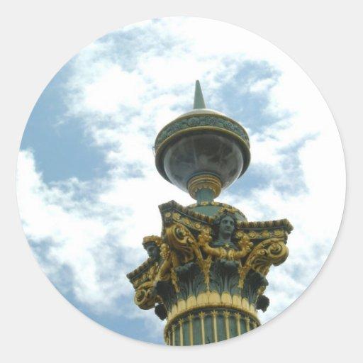 Pilar detallado del vintage de Europa Pegatina Redonda