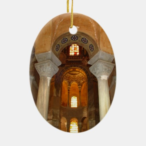 Pilares de la alcoba adorno navideño ovalado de cerámica