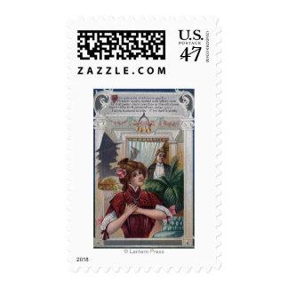 Pilares de la mujer y del hombre en lados sellos postales