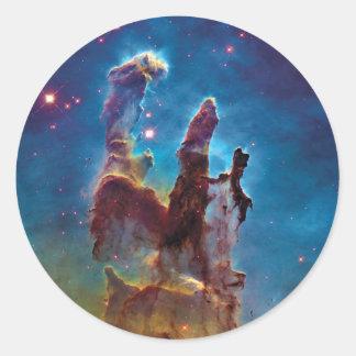 Pilares de la nebulosa de la creación M16 Eagle Pegatina Redonda