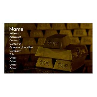 Pilas de barras de oro tarjeta de visita