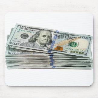 Pilas de cientos billetes de dólar alfombrillas de raton