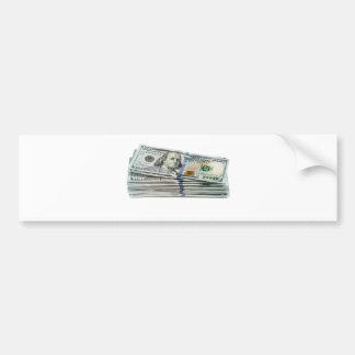 Pilas de cientos billetes de dólar pegatina para auto