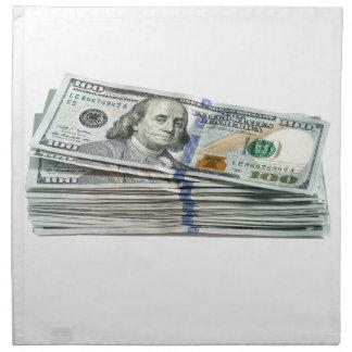 Pilas de cientos billetes de dólar servilletas imprimidas