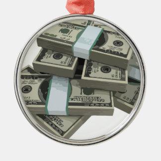 Pilas del dinero adorno redondo plateado
